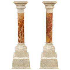 Pair of Italian 19th Century Neoclassical Style Brèche & Carrara Marble Columns