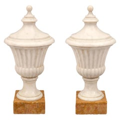 Pair of Italian 19th Century Neoclassical Style Decorative Marble Urns