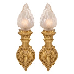 Pair of Italian 19th Century Neoclassical Style Giltwood and Glass Sconces