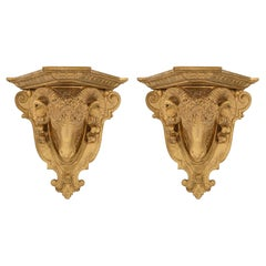 Pair of Italian 19th Century Neoclassical Style Giltwood Wall Brackets