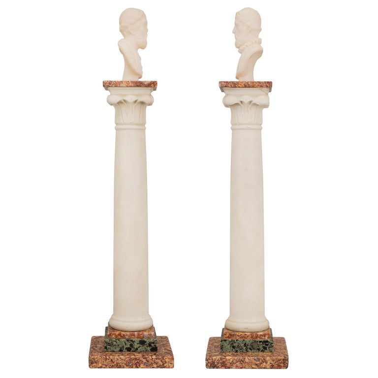 Pair of Italian 19th Century Neoclassical Style Grand Tour Marble Columns In Excellent Condition For Sale In West Palm Beach, FL