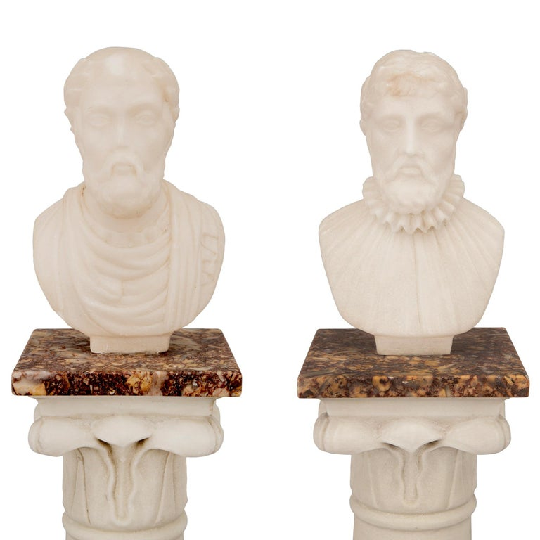 Pair of Italian 19th Century Neoclassical Style Grand Tour Marble Columns For Sale 2