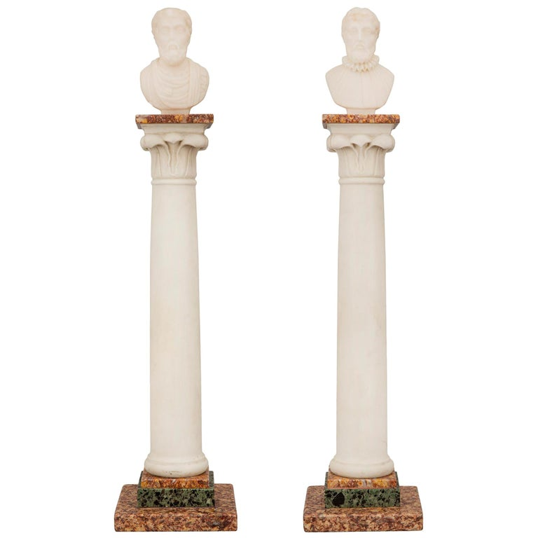 Pair of Italian 19th Century Neoclassical Style Grand Tour Marble Columns For Sale