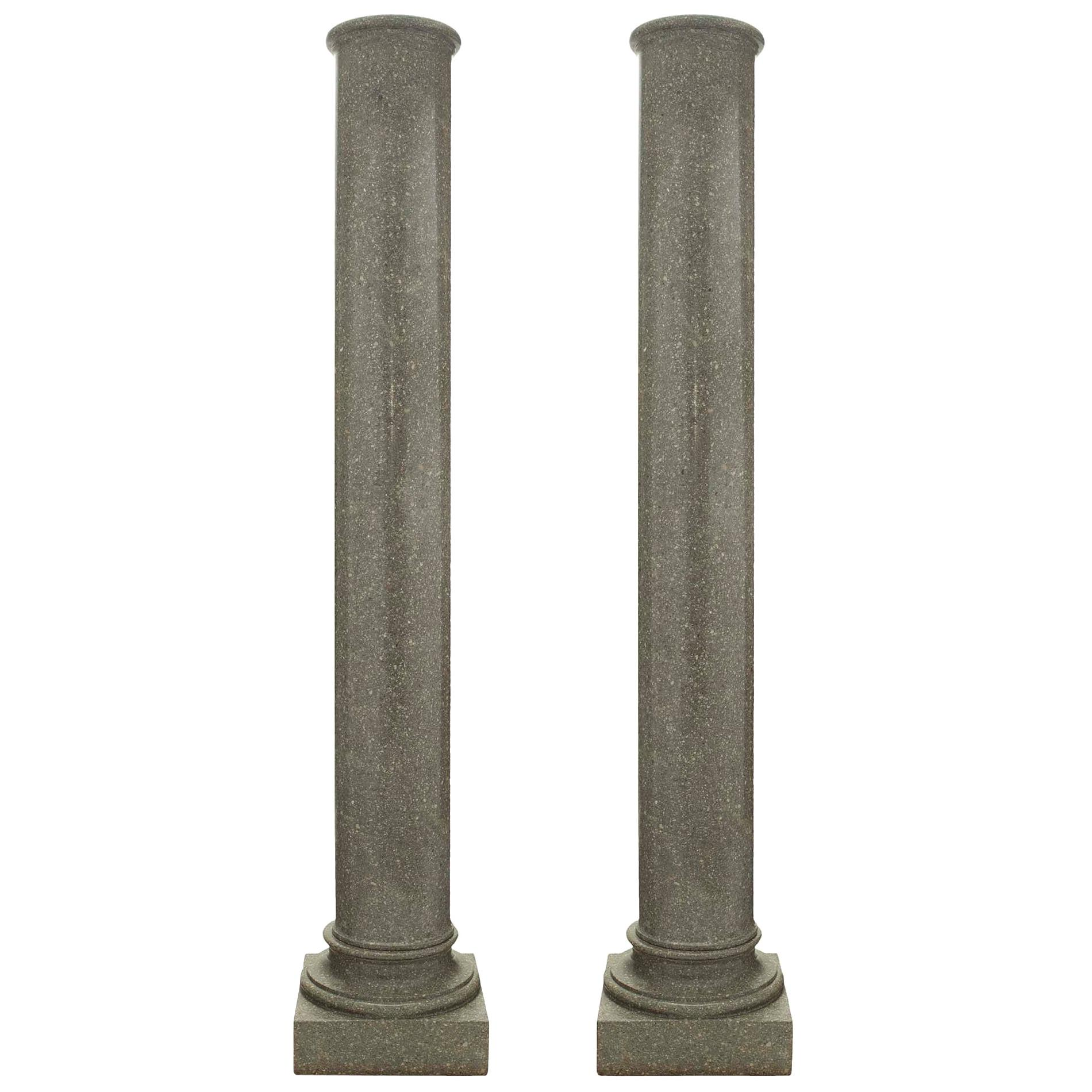 Pair of Italian 19th Century Neoclassical Style Granite Columns