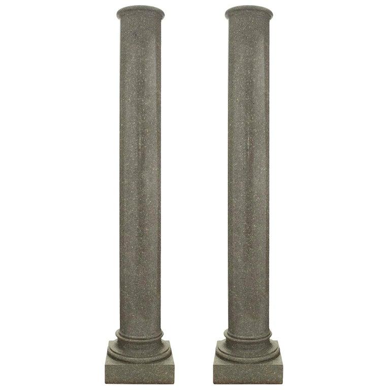 Pair of Italian 19th Century Neoclassical Style Granite Columns For Sale