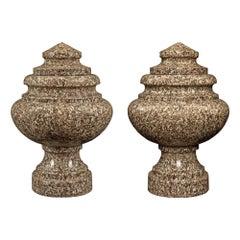 Pair of Italian 19th Century Neoclassical Style Granite Lidded Urns