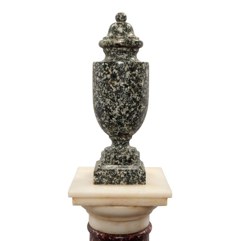 Pair of Italian 19th Century Neoclassical Style Marble and Porphyry Columns In Excellent Condition For Sale In West Palm Beach, FL