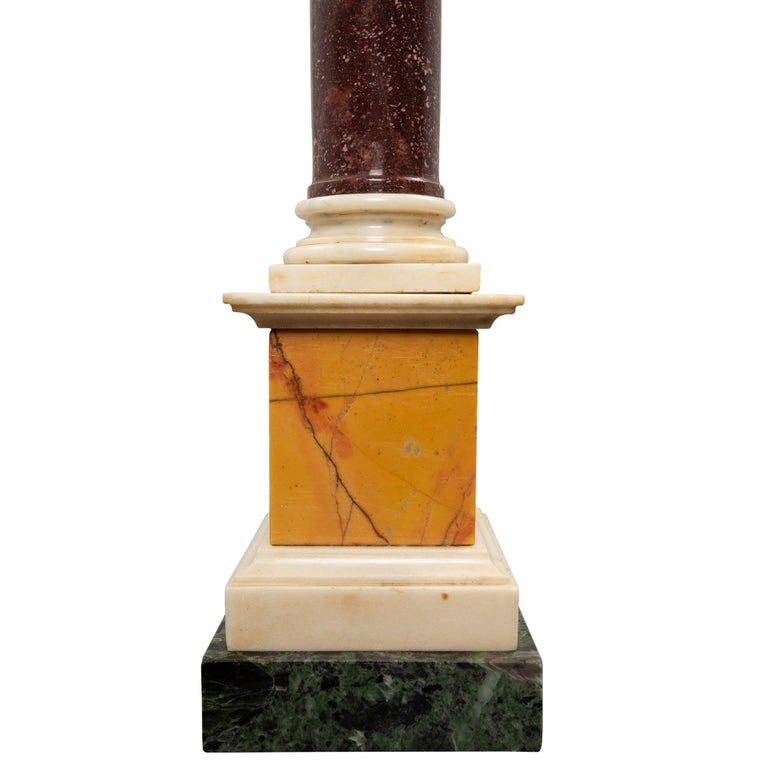 Pair of Italian 19th Century Neoclassical Style Marble and Porphyry Columns For Sale 1