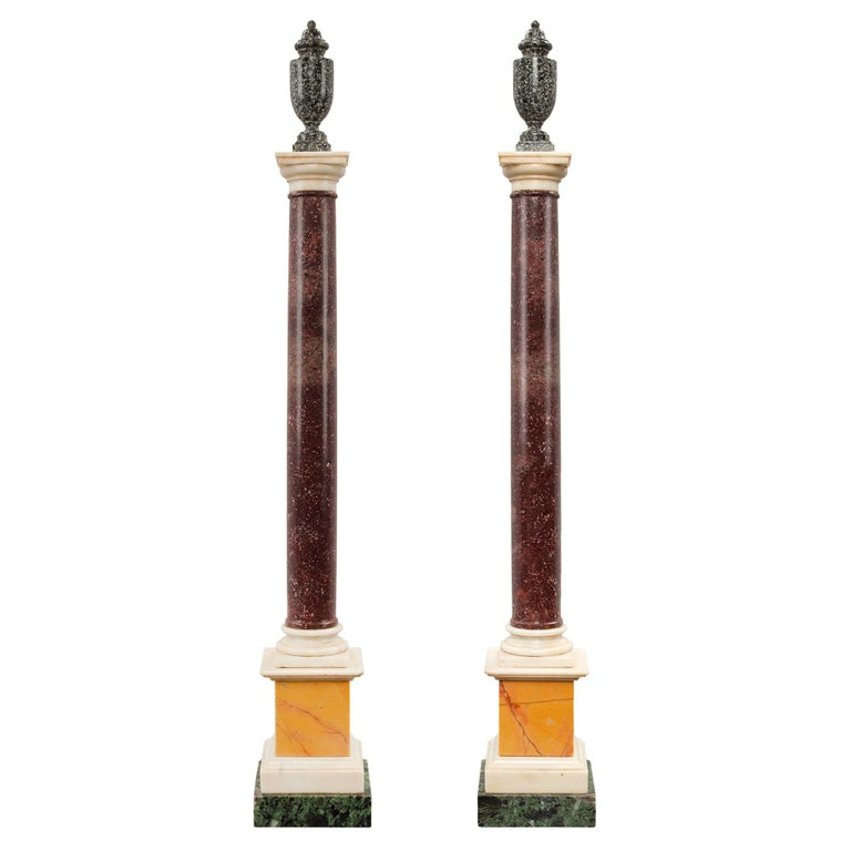 Pair of Italian 19th Century Neoclassical Style Marble and Porphyry Columns For Sale