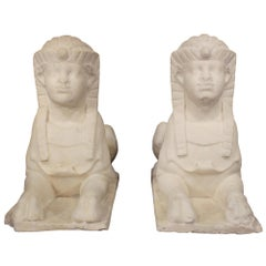 Pair of Italian 19th Century Neoclassical Style Marble Egyptian Sphinxes
