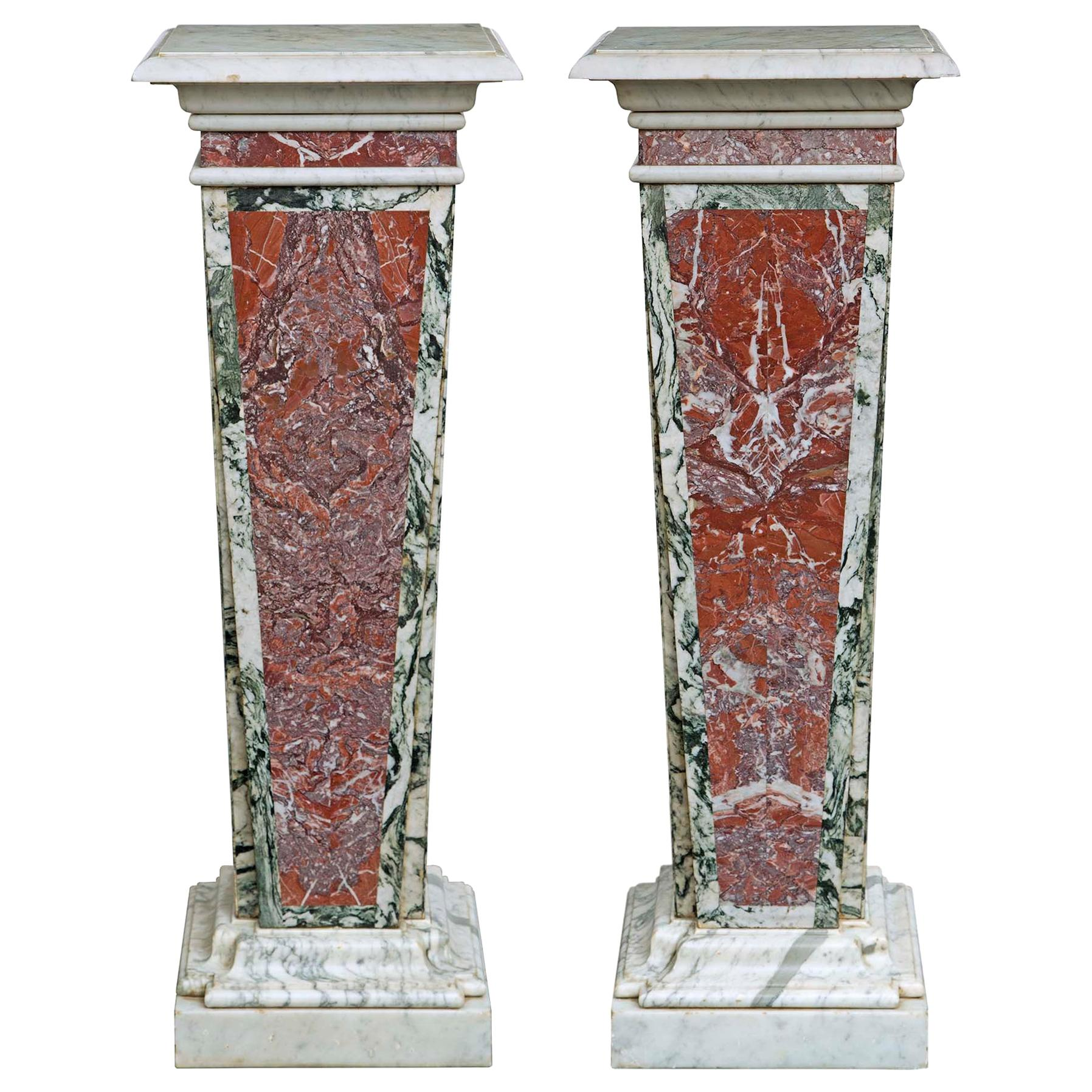Pair of Italian 19th Century Neoclassical Style Marble Pedestals
