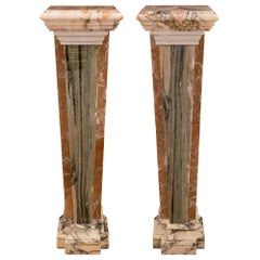 Pair of Italian 19th Century Neoclassical Style Onyx and Marble Pedestal Columns