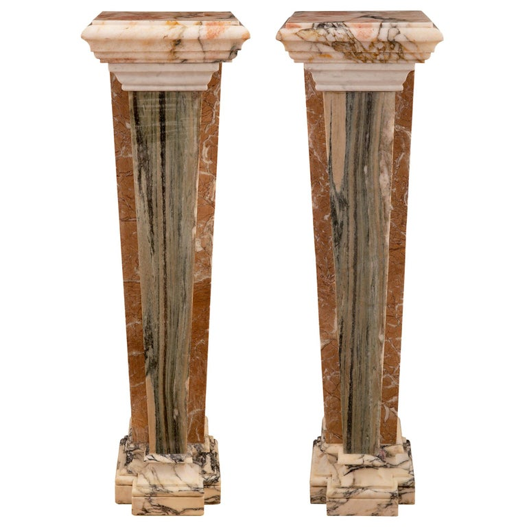 Pair of Italian 19th Century Neoclassical Style Onyx and Marble Pedestal Columns For Sale