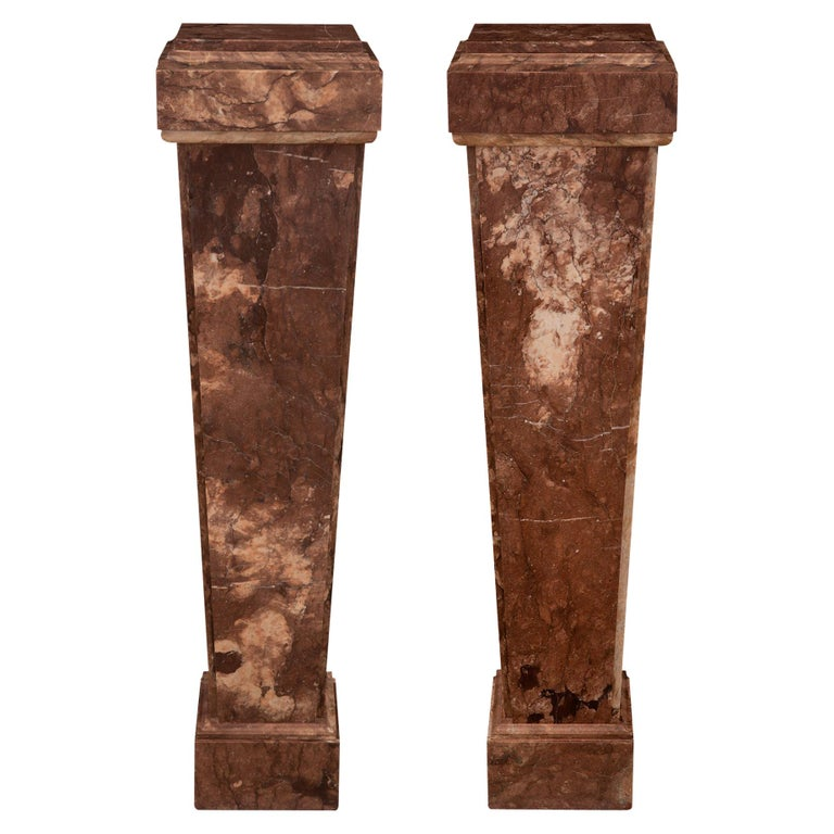 Pair of Italian 19th Century Neoclassical Style Rouge Marble Pedestal Columns For Sale