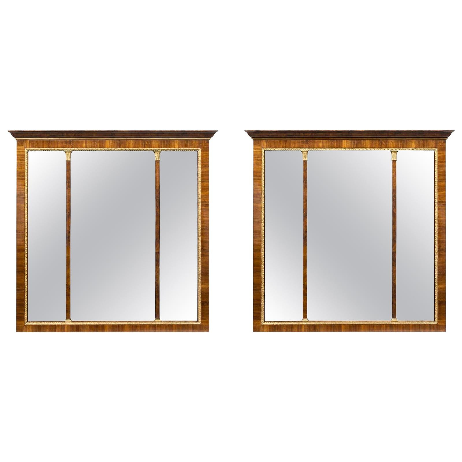 Pair of Italian 19th Century Neoclassical Style Walnut and Giltwood Mirrors
