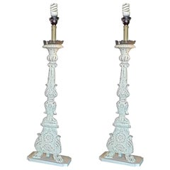 Pair of Italian 19th Century Painted Wood and Tin Church Candlestick Lamps