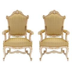 Pair of Italian 19th Century Patinated and Giltwood Venetian Armchairs