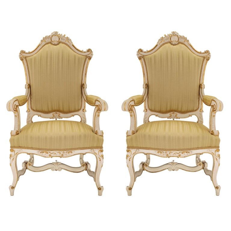 Pair of Italian 19th Century Patinated and Giltwood Venetian Armchairs For Sale