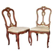 Pair of Italian 19th Century Patinated Red and Gilt Children's Chairs