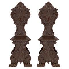 Pair of Italian 19th Century Renaissance St. Walnut Chairs