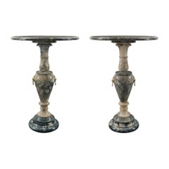 Pair of Italian 19th Century Soap Stone and Ormolu Circular Side Tables