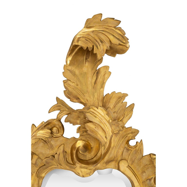 Pair of Italian 19th Century Venetian Giltwood Mirrors In Good Condition For Sale In West Palm Beach, FL
