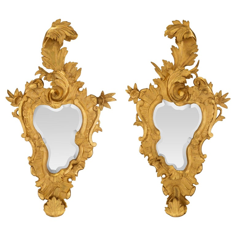 Pair of Italian 19th Century Venetian Giltwood Mirrors For Sale