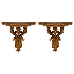 Pair of Italian 19th Century Venetian Mecca and Faux Painted Wall Brackets