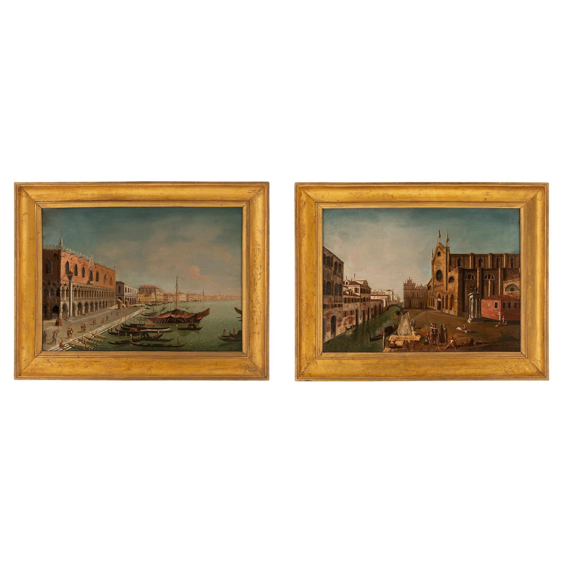 Pair of Italian 19th Century Venetian Oil on Canvas Paintings