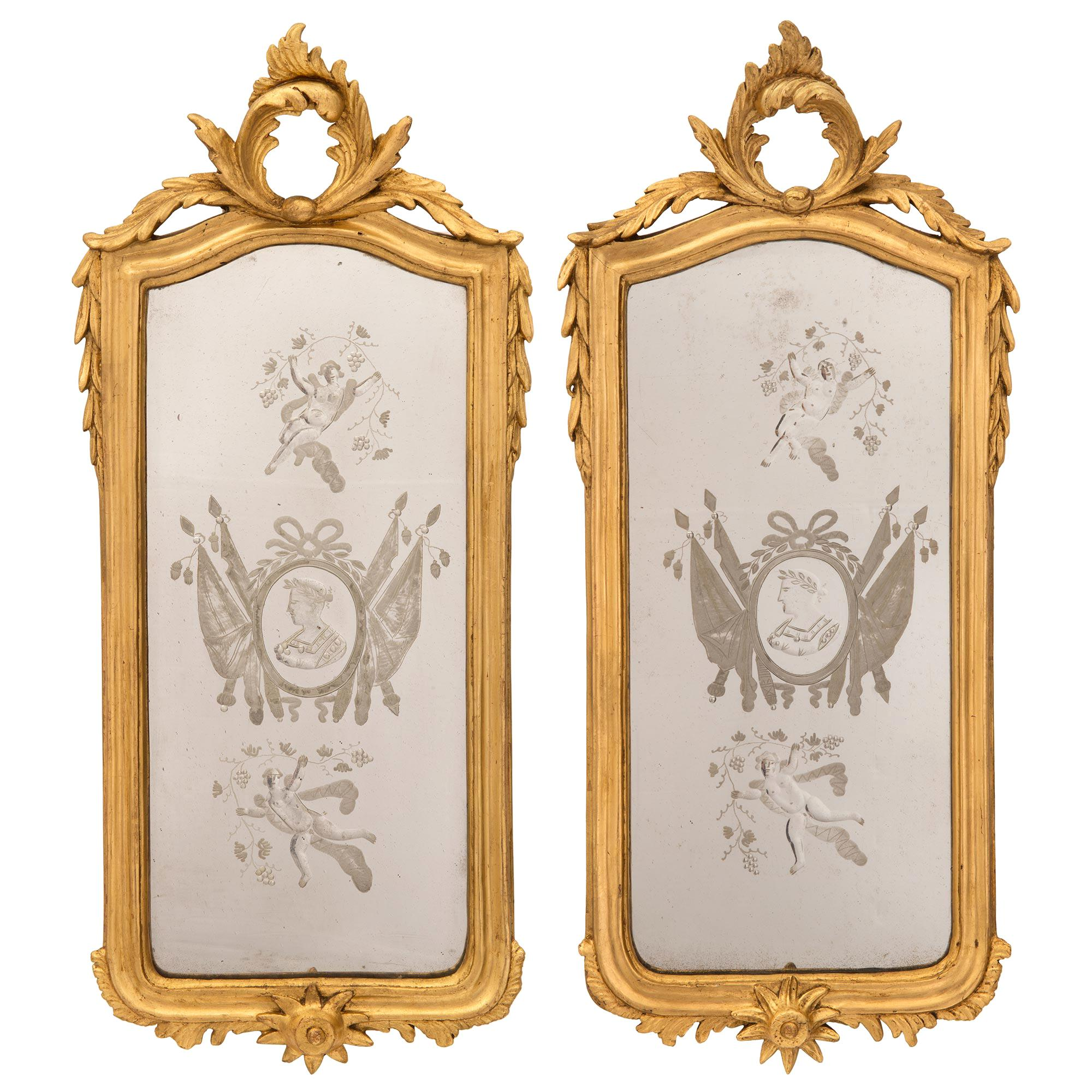 Pair of Italian 19th Century Venetian Style Giltwood Mirrors