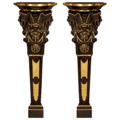 Pair of Italian 19th Century Venetian Wall Mounted Consoles/Pedestal Columns