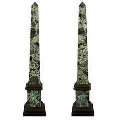 Pair of Italian 19th Century Verde Antico Marble Obelisks