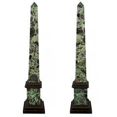 Pair of Italian 19th Century Verde Antico Marble Obelisks