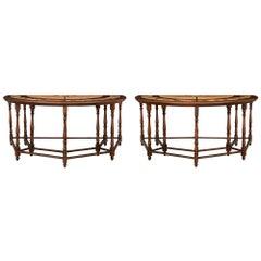 Pair of Italian 19th Century Walnut and Pietra Dura Consoles/Center Tables