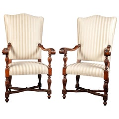 Pair of Italian 19th Century Walnut Carved Armchairs