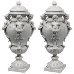 Pair of Italian 19th Century White Glazed Porcelain Lidded Casolettes