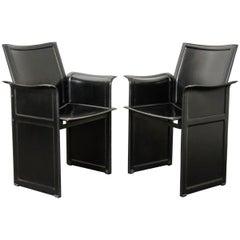 "Pair of Italian 20th Century Leather ""Korium"" Armchairs"