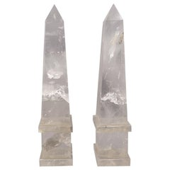 Pair of Italian 20th Century Rock Crystal Quartz Hand Carved
