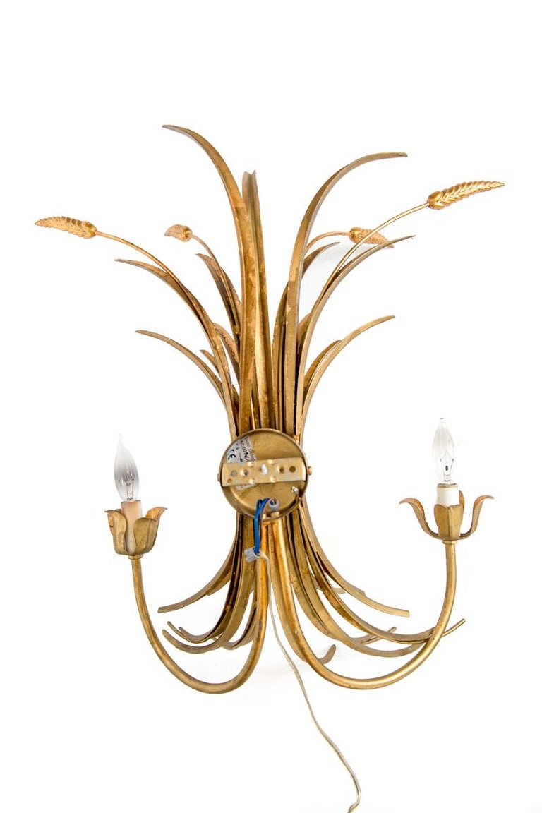 A pair of gilded Italian, 20th Century wheat motif appliqués. New wired. Candelabrum base bulb. Maximum 60 watt each socket.