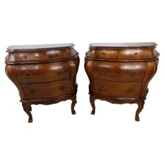 Pair of Italian 3 Drawer Bombe Commodes Night Tables, C1955