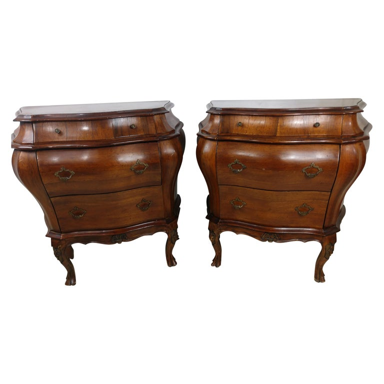Pair of Italian 3 Drawer Bombe Commodes Night Tables, C1955 For Sale