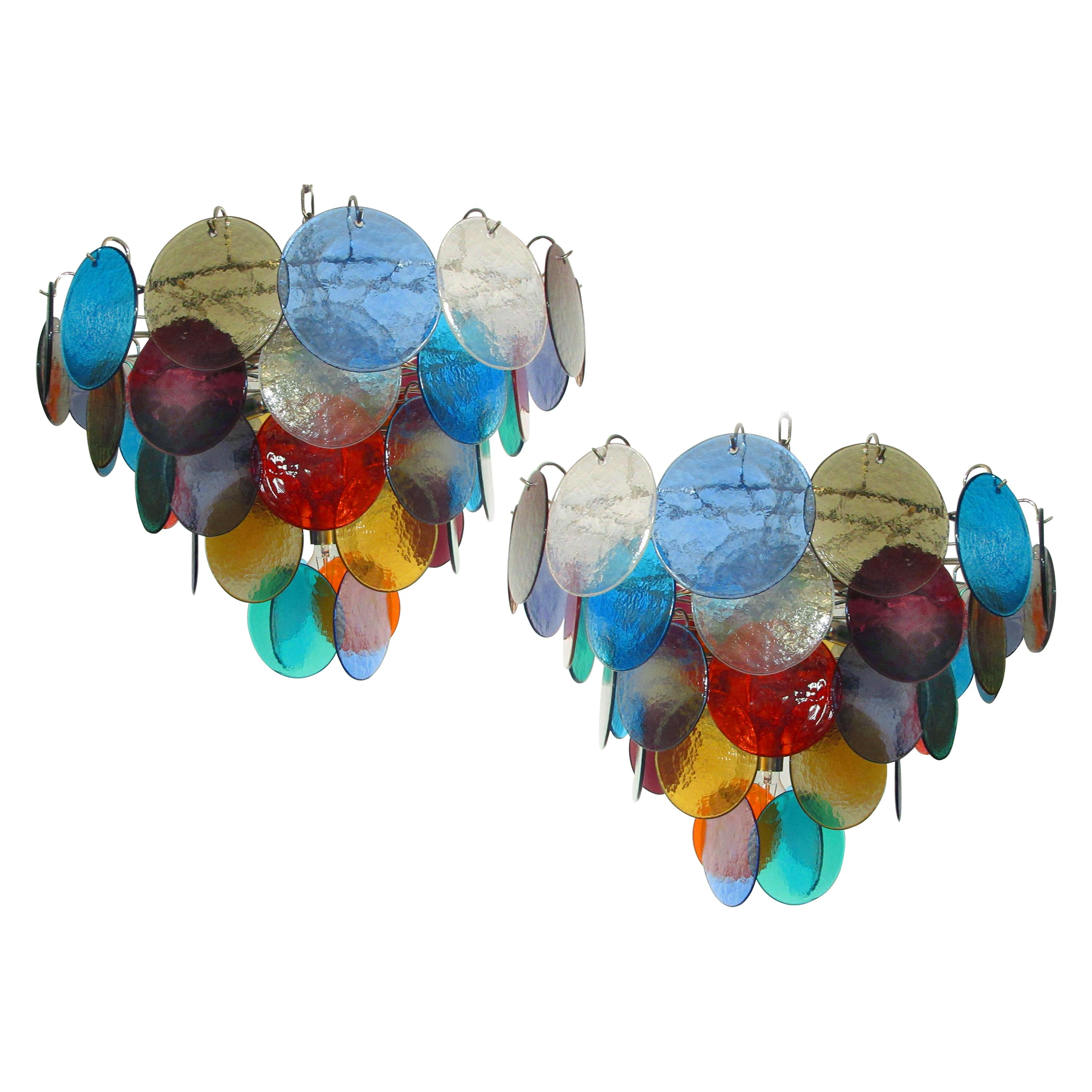 Pair of Italian 50 Multicolored Glass Disks Chandeliers, Murano