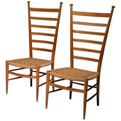 Pair of Italian 1950s High Back Chairs by Sanguineti