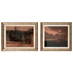 "Pair of Italian Abstract Framed Oil Paintings c.1980 Signed ""Giussani"""