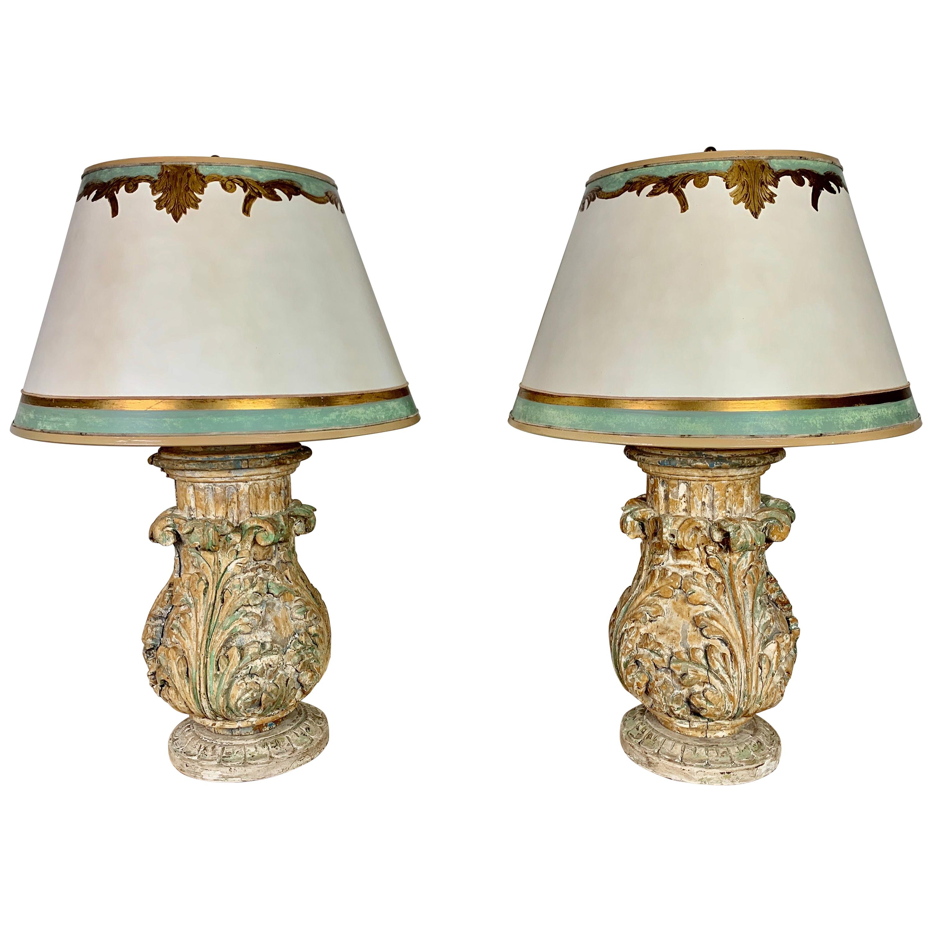 Pair of Italian Acanthus Leaf Lamps with Parchment Shades