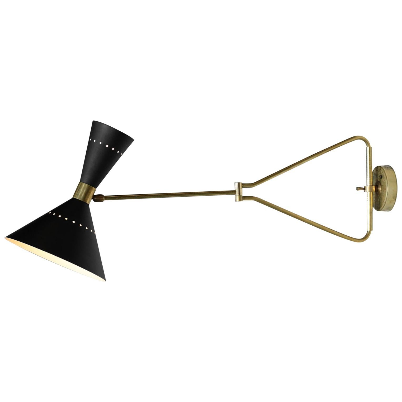 "Pair of Italian Adjustable Wall Light ""Rafaela"" Black Modern Brass"