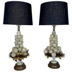 Pair of Italian Alabaster Grape Cluster Form Lamps