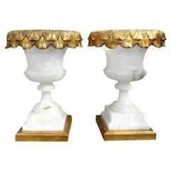 Pair of Italian Alabaster Urn Form Lamps on Giltwood Bases