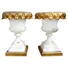 Pair of Italian Alabaster Urn Lamps on Giltwood Bases