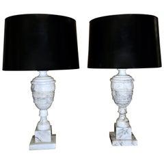 Pair of Italian Alabaster Urn Motif Table Lamps